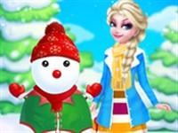 Prenses Elsa ve Kardan Adam Giydirme